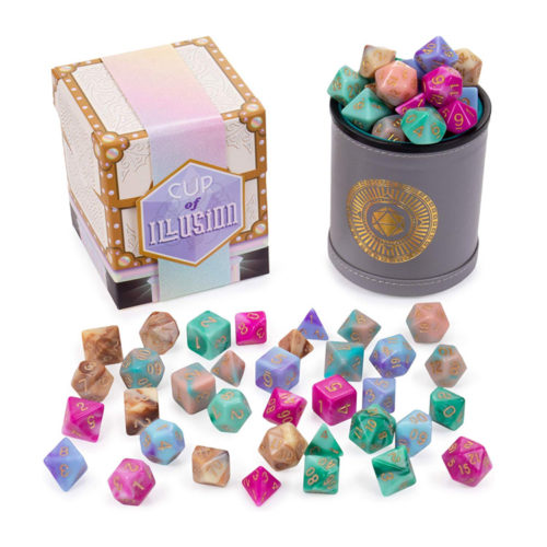 5 Complete Sets of 7 Swirl Polyhedral RPG Dice