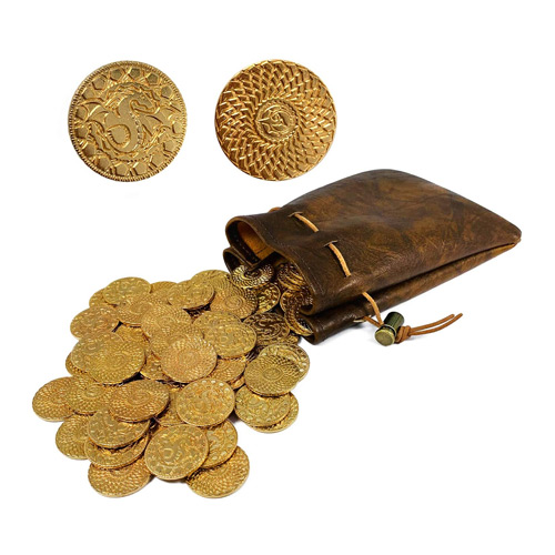 Fantasy Metal Gold Coins with Leather Pouch