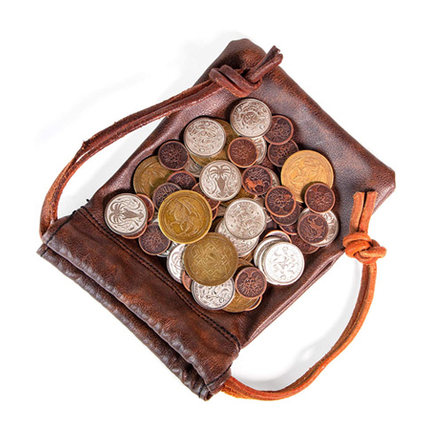 60 Real Metal Fantasy Coins with Leather Pouch