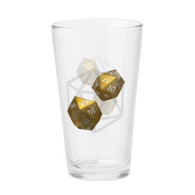 D20 Roleplaying Dice Gold Icosahedrons Glass Cup