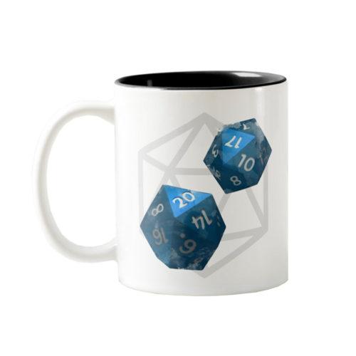 D20 Roleplaying Dice Blue Icosahedrons Coffee Mug