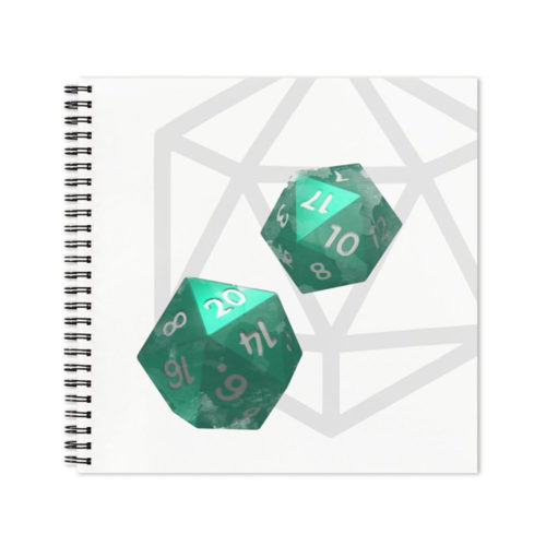 D20 Roleplaying Dice Green Icosahedrons Notebook