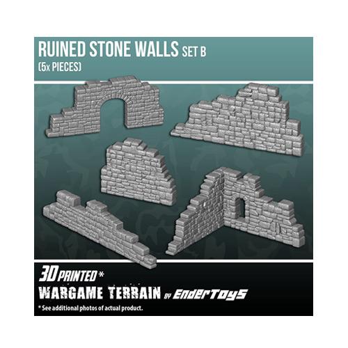 Ruined Stone Walls Set B, Terrain Scenery for Tabletop