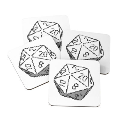 D20 Roleplaying Die Icosahedron Pixel Art Coasters