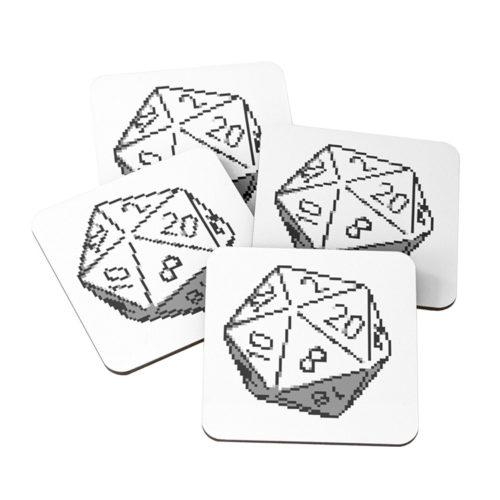 D20 Roleplaying Die Icosahedron Pixel Art Coasters