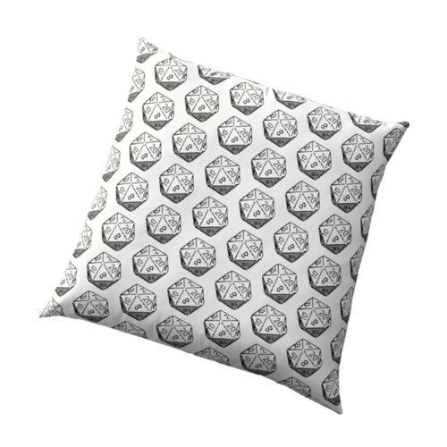 D20 Roleplaying Die Icosahedron Pixel Art Cushion
