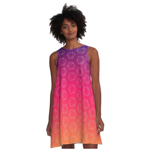 D20 Roleplaying Die Icosahedron Line-Art Fuchsia Dress