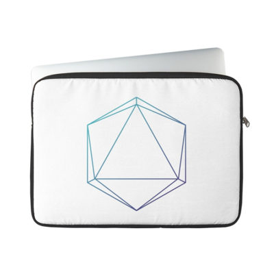 D20 Roleplaying Die Icosahedron Line-Art Blue/Purple Laptop Sleeve