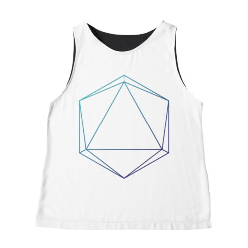 D20 Roleplaying Die Icosahedron Line-Art Blue/Purple Sleeveless Top