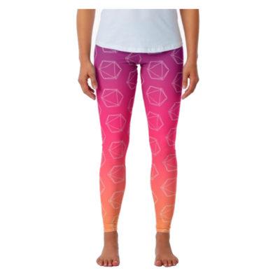 D20 Roleplaying Die Icosahedron Line-Art Fuchsia Leggings