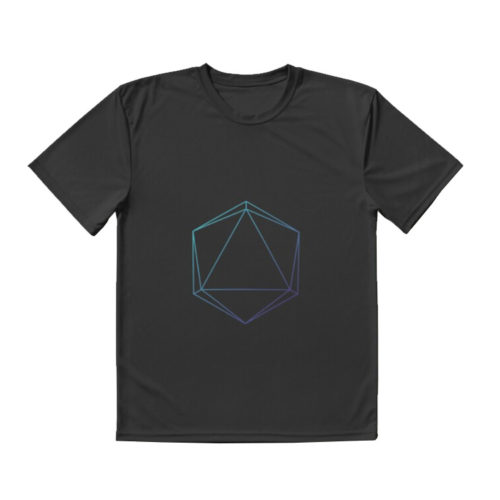 D20 Roleplaying Die Icosahedron Line-Art Blue/Purple T-Shirt