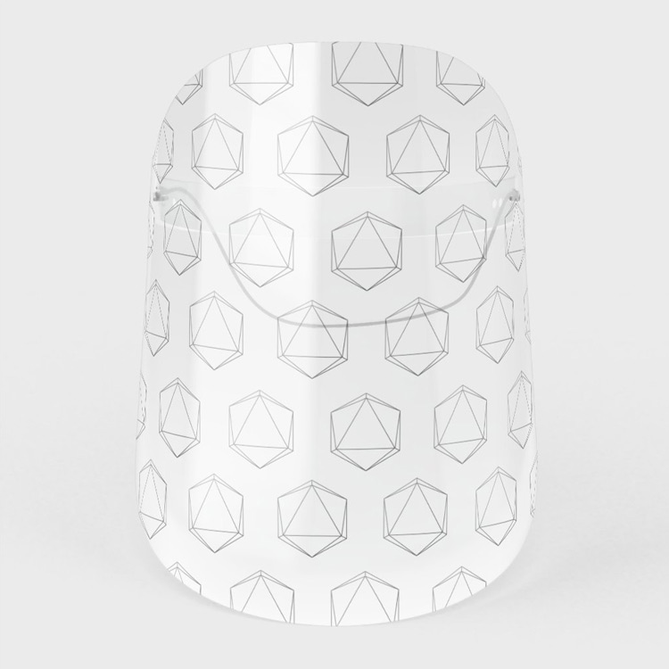 Face Shield: D20 Roleplaying Die Icosahedron Line-Art Grey