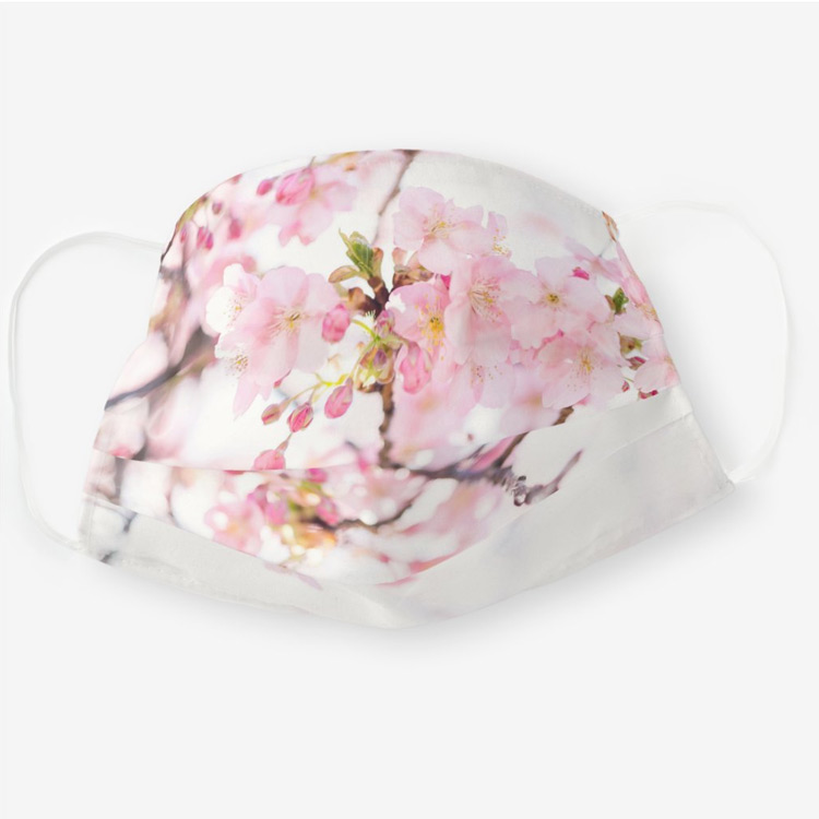 Covid masks: Cherry Blossom Japanese Flowers Photography Cloth Face Mask