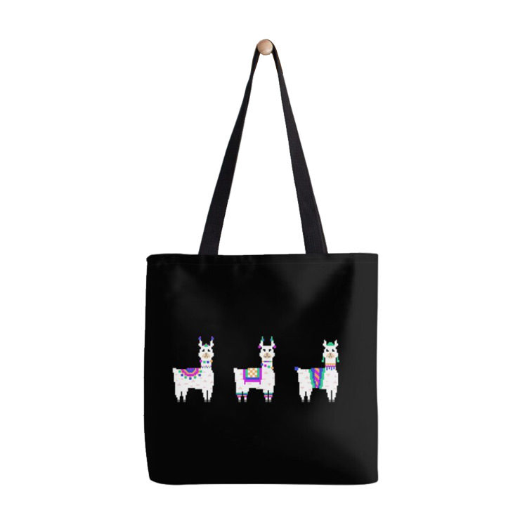 Colorful Pixel-Art Llamas on Parade Happy Retro Tote Bag
