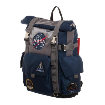 NASA Blue and Grey Roll-Top Backpack Backpack