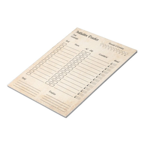 Roleplaying Initiative Tracker Notepad for Dungeons & Dragons and RPG