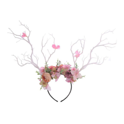 Deer Antler Elvish Druid Flower Crown Headband