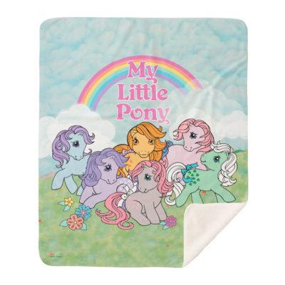 My Little Pony G1 Ponies Under Rainbow Sherpa Blanket
