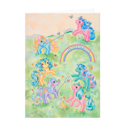 My Little Pony G1 Ponies Catching Butterflies Card