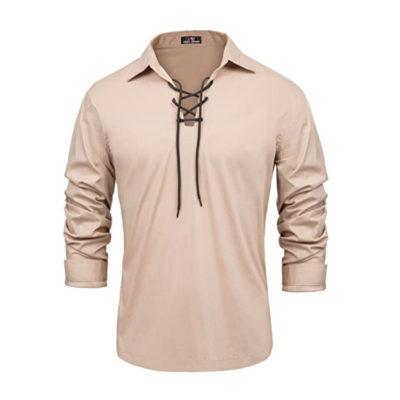 Cotton Scottish Jacobite Ghillie Kilt Lace-Up Shirt Long Sleeve