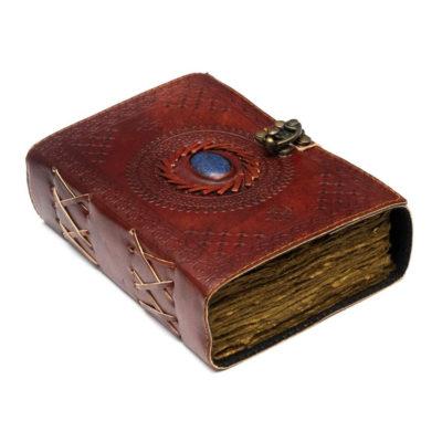 Fantasy Leather Journal with Lock Closure and Semi Precious Stone